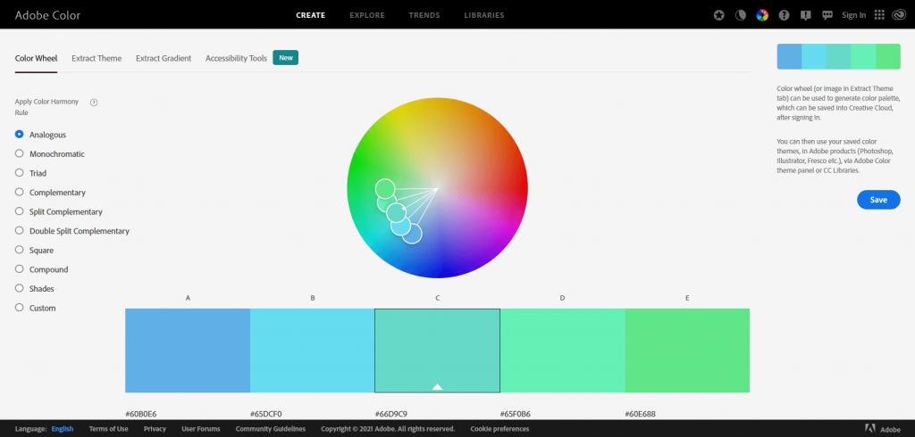 free resources of Colour Scheme Generators adobe color cc