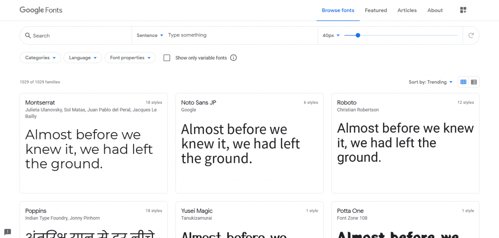 Free resources of fonts by google fonts
