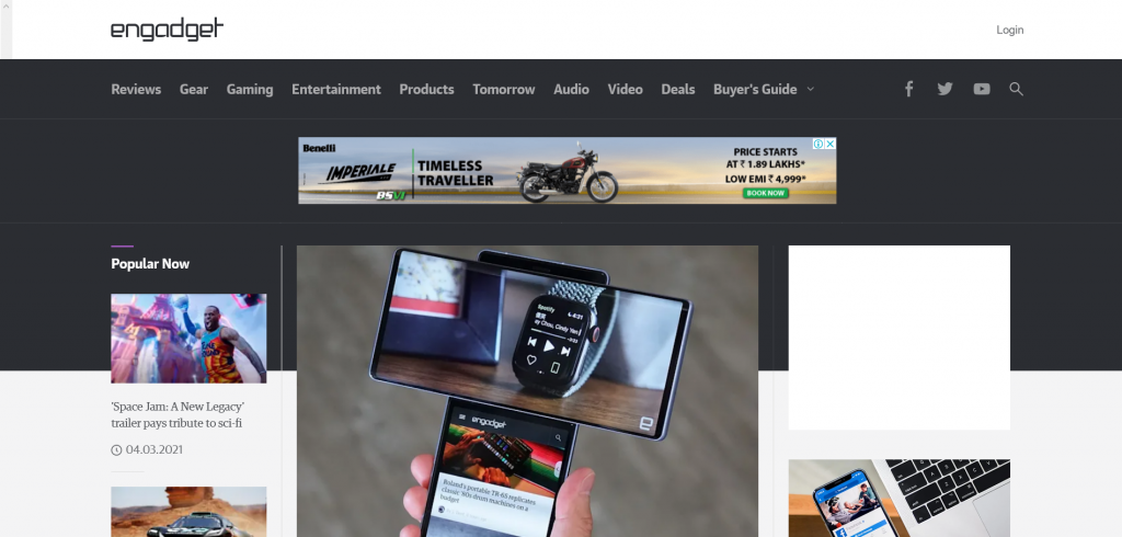 website for gadget and product reviews - Engadget