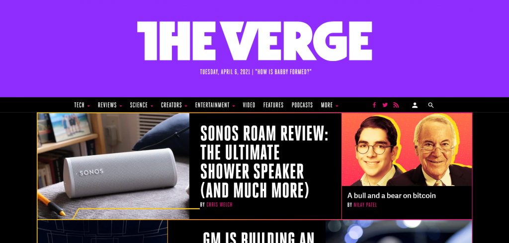 website for gadget reviews and tech news - The Verge