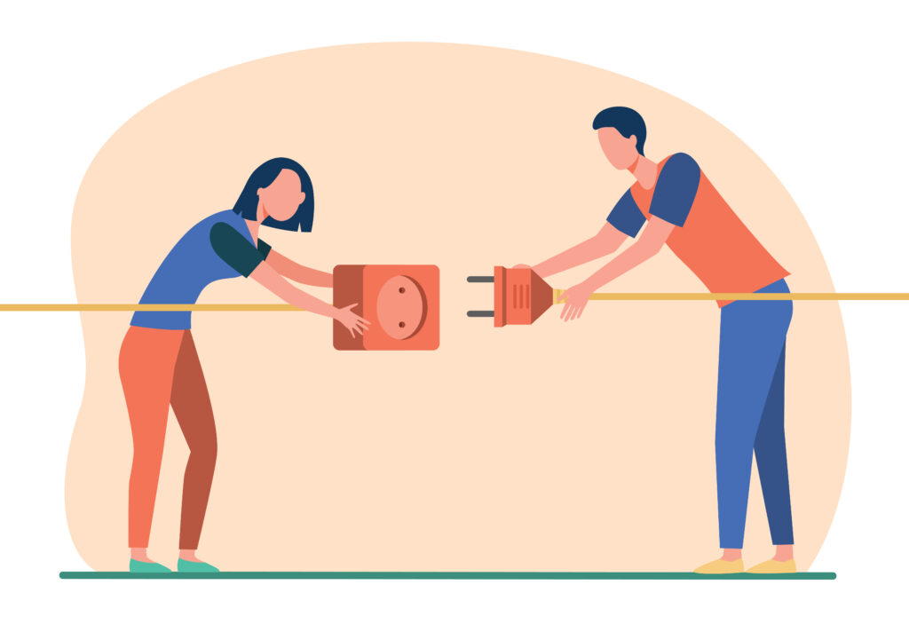 Two people connecting plug and socket. Man and woman pulling cords with outlet and plug flat vector illustration. Wire connection, electricity concept for banner, website design or landing web page